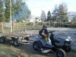 Beautiful kids (on a beautiful new mower)